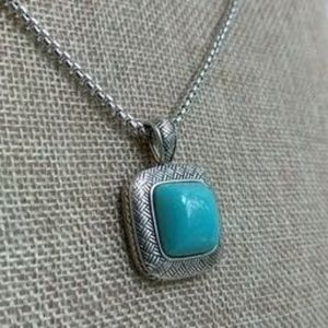 Jewelry - Silver tone necklace with faux turquoise pendant